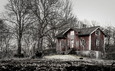 Old run down, ramshackle farm house in muted tones photo