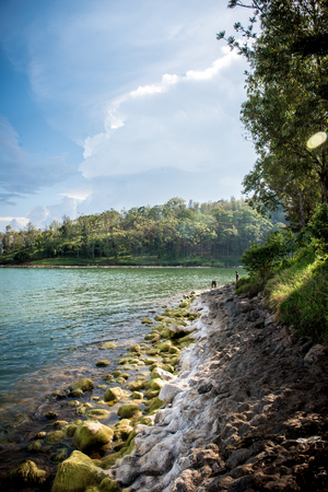 beautiful aqua water on the lakes edge with beautiful shoreline