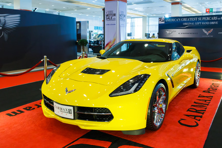 BANGKOK - AUGUST 23 : Yellow Chevrolet Corvette Z06 sports car on display at the Big Motor Sale, on 23 August, 2014 in Bangkok, Thailand.