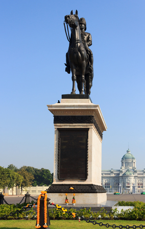 superpowers: The equestrian statue of King Chulalongkorn (Rama V) in Bangkok, Thailand. Editorial