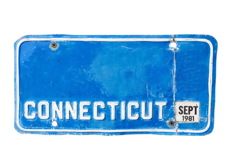 license plate: Old blue license plate of Connecticut, America on isolated white background.