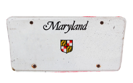 license plate: White license plate of Maryland, America on isolated white background.