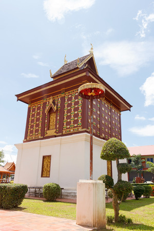 scripture: Golden scripture hall, Ho Trai of Wat Huakhuang in Nan, Northern of Thailand.