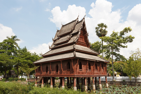 scripture: Scripture hall, Ho Trai in pound at Wat Thung Si Mueang, Ubonratchathani,  Thailand.