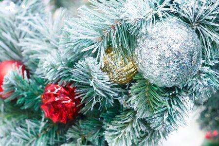 christmas tree decoration: Christmas balls with tree decoration, Selective focust.