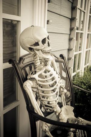 muerte: Halloween ghost portrait, Human skull sitting on chair, Dramatic style.