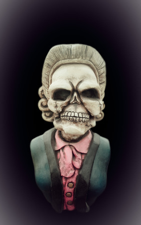 hollows: Grandmother ghost statue on black background, Isolated, Dramatic style. Stock Photo