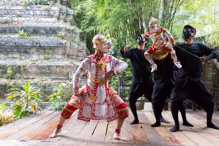 dance drama: Bangkok, Thailand - January 11, 2015: Thai Khon performance, Dance drama show for tourists at Artist s House.
