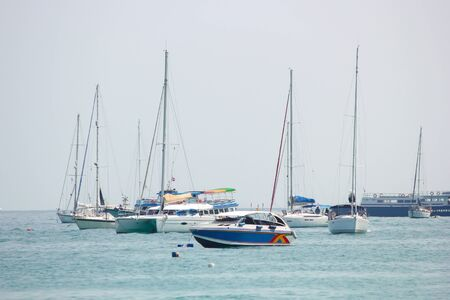 phi phi: Speed boats and sailboats at Phi Phi island in Krabi, Thailand. Selective focus.