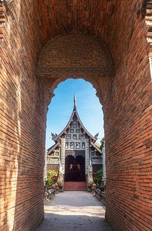 molee: Brick tunnel gate of Wat Lok molee in Chiangmai, Thailand. Stock Photo