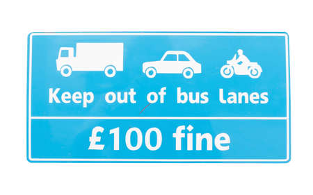 keep out: Blue caution sign on bus, Keep out of bus lanes with white background, Isolaed.