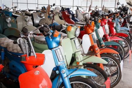 housing lot: Nakhonpathom, Thailand - January 24, 2016: Group of old retro bikes show for  visitors at Jesada Technik Museum.