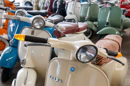housing lot: Nakhonpathom, Thailand - January 24, 2016: Group of old retro bikes show for  visitors at Jesada Technik Museum.