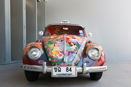 Chiang Mai, Thailand -  August 1, 2016: Colorful taxi volkswagen beetle show at MAIIAM contemporary art museum.