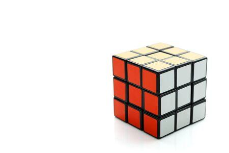 Bangkok, Thailand - January 14, 2018: Completed Rubiks 3x3 cube on white background isolated. Redakční