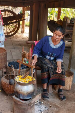 Nakhonratchasima, Thailand - December 31, 2017: Native Thai woman silk reeling from yellow cocoon with local equipment at Jim thompson farm.