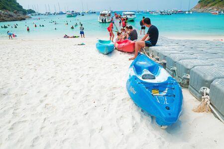 Phuket, Thailand - February 25, 2017: Group of tourism travel to Racha or Raya island.