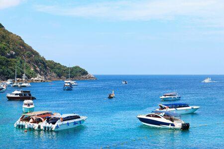 Phuket, Thailand - February 25, 2017: Speed boat take group of tourism travel to Racha or Raya island.