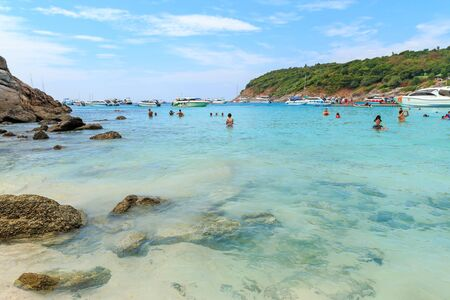 Phuket, Thailand - February 25, 2017: Group of tourism travel to activity on beach at Racha or Raya island. Redakční
