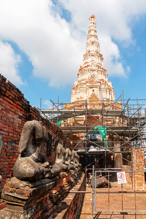 Renovate Chedi, Pagoda of Wat Chaiwatthanaram, Buddhist temple in Ayutthaya Historical Park, Thailand.