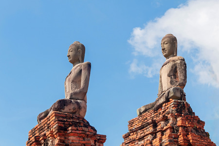 Chedi, Pagoda designed in Khmer style of Wat Chaiwatthanaram, Buddhist temple in Ayutthaya Historical Park, Thailand.