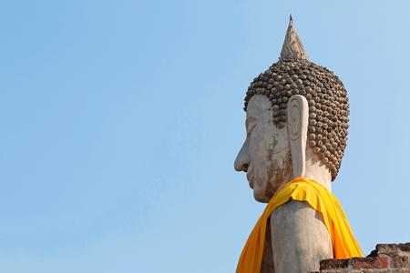 Head of white Buddha statue at Wat Yai Chaimongkol, Ayutthaya, Thailand.