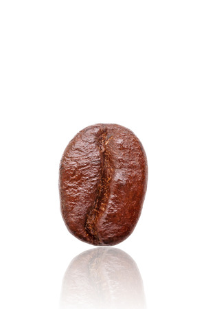 Close-up roasted coffee bean on white background, Isolated.