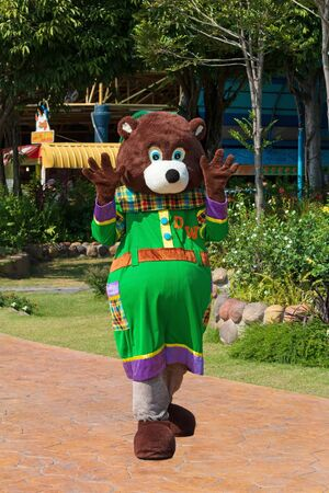 Pathumthani, THAILAND - December 11, 2017 : A bear mascot show in Dream world, amusement park in Thailand.