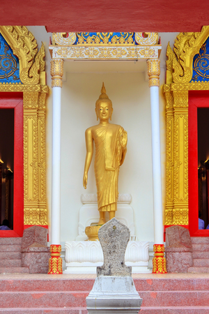 Golden standing Buddha statue  in the temple. Reklamní fotografie