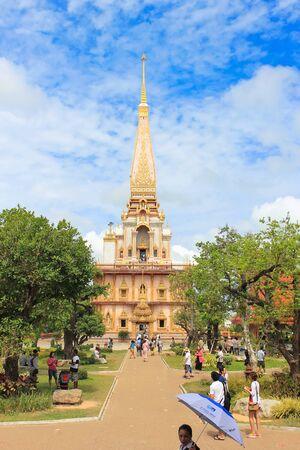Phuket, Thailand - August 2, 2012: Big Pagoda, Chedi at Wat Chalong or Chaithararam temple.