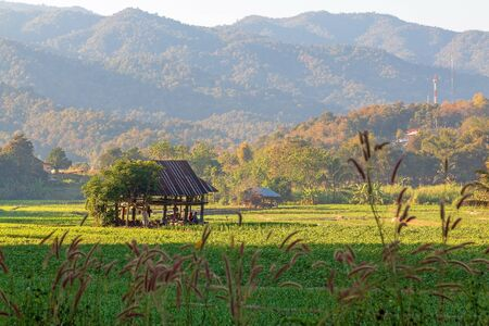 Beautiful nature viewpoint with hut and mountain in Mae Hong Son, Thailand