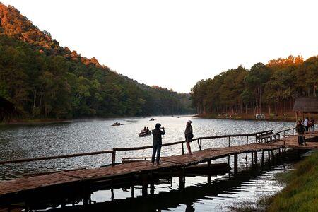 Mae Hong Son, Thailand - February 9, 2019: Visitors take photo of beautiful nature viewpoint of Pang ung.