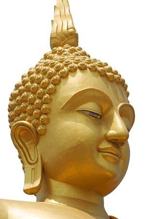 Head of golden Buddha statue on white background, Isolated. Reklamní fotografie