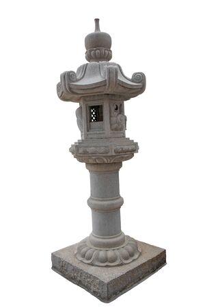 Chinese stone lantern on white background, Isolated. Reklamní fotografie