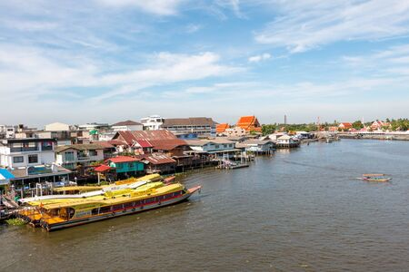 Nonthaburi, Thailand - May 17, 2015: View of transportation with lifestyle in Chao Phraya river, Nonthaburi, Thailand.