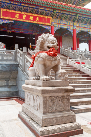 Chinese stone lion in the temple.