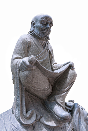 Chinese monk statue, Stone sculpture on white background, Isolated. Redakční