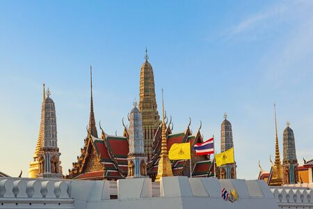 View of Wat Phra Kaew with sunset on twilight time.
