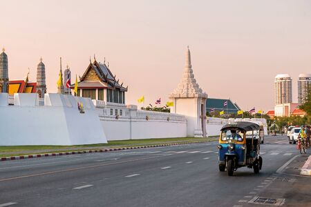 Bangkok, Thailand - December 5, 2019: View of Maharaj road on evening.