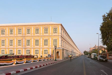 Bangkok, Thailand - December 5, 2019: View of Thailand Ministry of Defense with road on evening. Redakční