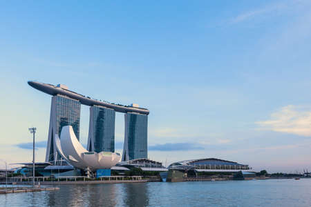 Singapore - April 12, 2015: View of Marina Bay Sands with sunset on twilight time.