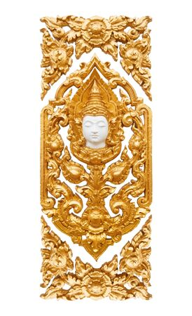 Wood carving of golden Thai angle on white isolated background.