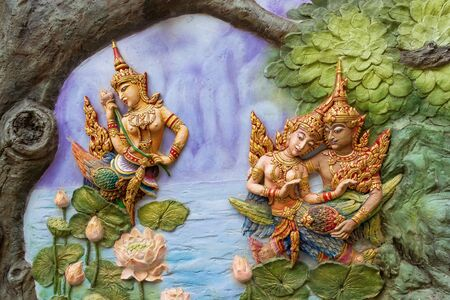 Thai Angels background at Wat Bua Khwan, Nonthabure Thailand.
