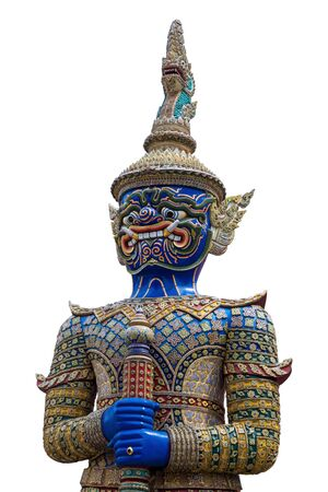 Blue giant demon guarding statue on white isolated  background.