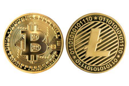 Golden Bitcoin and Litecoin on white isolated background. Reklamní fotografie