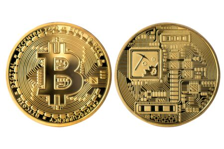 Golden Bitcoin on white isolated background.