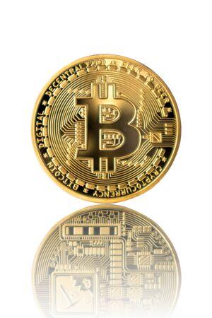 Golden Bitcoin reflection back on white isolated background. Reklamní fotografie