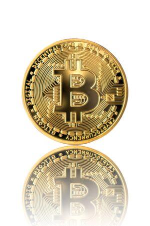 Golden Bitcoin reflection on white isolated background. Reklamní fotografie