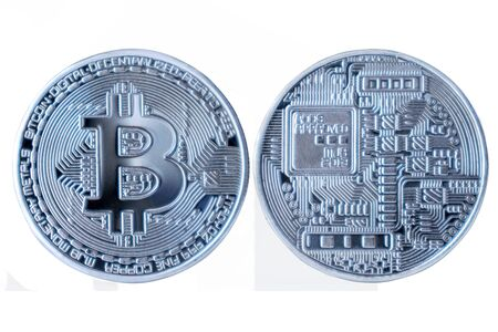Silver Bitcoin on white isolated background.