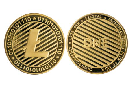 Golden Litecoin on white isolated background.